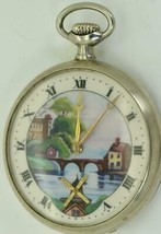Antique Omega Automaton Dutch Mill enamel dial  pocket watch c1929 - $990.00