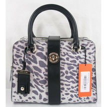 Karen Millen Purple Ivory Suede Leopard Black Leather LG Satchel NWT  - $162.86