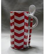 2013 Starbucks Red & White Chevron Coffee Cup Mug with Spoon 8 oz - $6.99