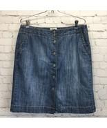 Liz & Co Button Front Denim Skirt Womans 10 Medium Wash Front Pockets A-... - $19.30