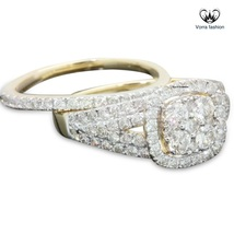 Yellow Gold Plated Pure 925 Sterling Silver Diamond Bridal Engagement Ri... - $103.44