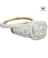 10k yellow gold 1.67 carat womens real diamond engagement ring wedding band set thumbtall