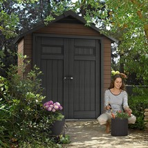 Outdoor Storage Shed Yard Garden Patio Wood Plastic 2 Doors Lockable 7.5... - $1,388.89
