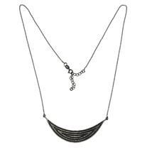 Black Spinel Gemstone 925 Sterling Silver Crescent Moon Pendant Chain Ne... - $27.96