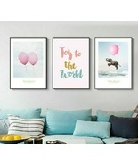 Nordic Posters And Print Abstract Pink Balloon Elephant Colorful Letter ... - $5.99+