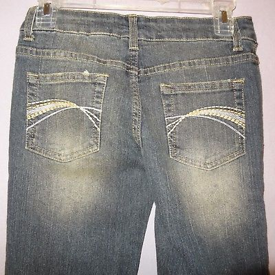 Deb Jeans Blue Size 1 Denim Junior Womens Distressed Faded Low Rise