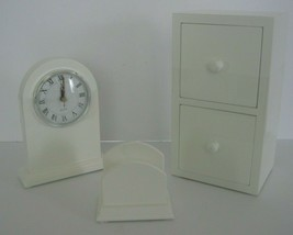 Desk Set -Clock, Business Card Holder and Cabinet with Drawers White NIB... - €25,07 EUR
