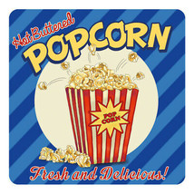 Hot Buttered Popcorn, Retro Film Food Diner Style Drinks Table Coaster - $3.71