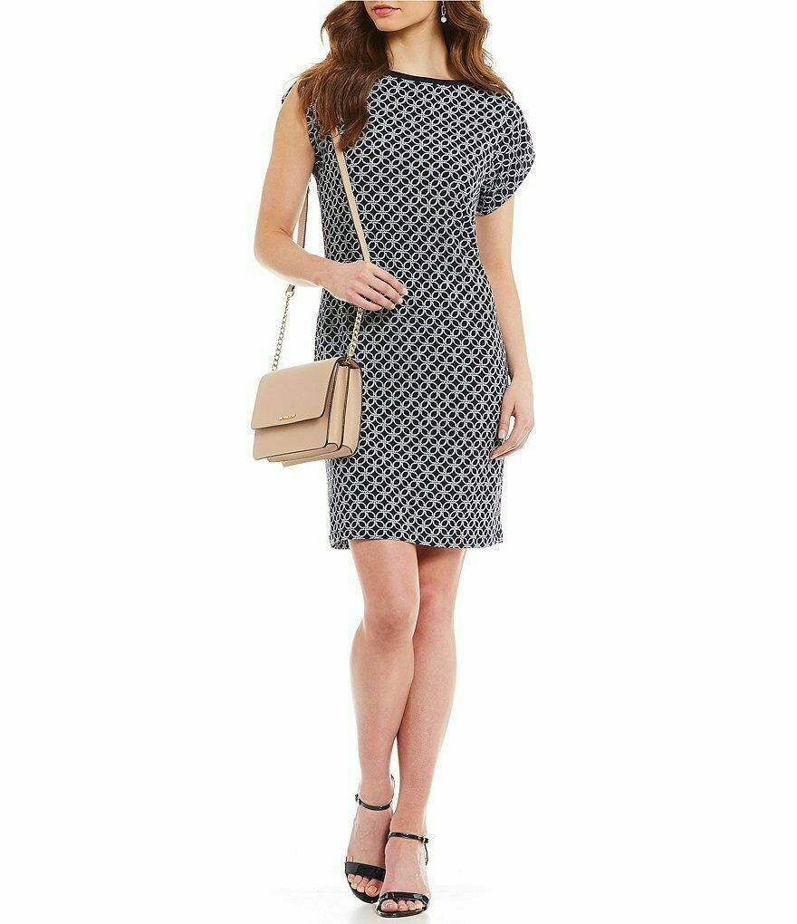 Primary image for MICHAEL Michael Kors Rope Geometric Print Matte Jersey Dress True Navy White XXS