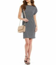 MICHAEL Michael Kors Rope Geometric Print Matte Jersey Dress True Navy W... - $79.99