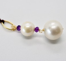 SOLID 18K YELLOW GOLD PENDANT WITH 2 WHITE FW PEARL AND AMETHYST MADE IN ITALY image 2