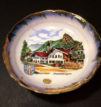 Vtg Oberammergau Austria Collectors Bowl Porcelain Gilt Gold Edge Mountain - $12.95