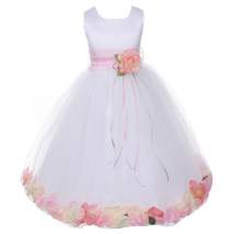 White Satin Bodice Layers Tulle Skirt Pink Sash Flower Ribbon Brooch and Petals - $48.00