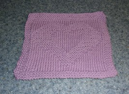 Brand New Hand Knit Cotton Dish Cloth Purple Heart Design For Dog Rescue... - $10.91