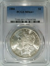 1886 Silver Morgan Dollar PCGS MS 64+ Plus Nice Mirrors Luster Graded Ge... - $114.99