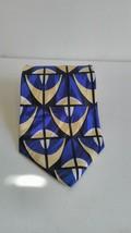 Men's Zylos George Machado Blue Geometric Pattern 100% Italian Silk Neck Tie T29 - $6.92