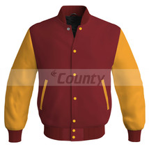 Super Letterman Baseball College Bomber Jacket Sports Maroon Golden Satin - $49.98+