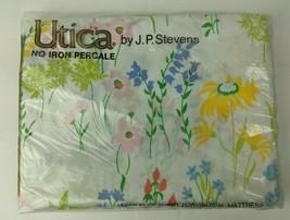 Vintage NIP Utica JP Stevens Twin Flat Sheet Percale Happy Flowers USA - $24.75