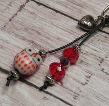 Owl Red Ceramic Crystal Beaded Handmade Purse Planner Charm Keychain Clip - $13.57