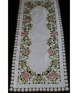 """1 Pcs 16x108"""" Rectangular White Embroidery Cutwork Rose Lace Placemats E... - $52.17"""