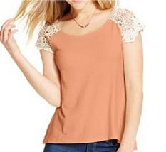 Freshman Forever Juniors' Crochet-Sleeve Top, Apricot/White , Size S, MS... - $16.82