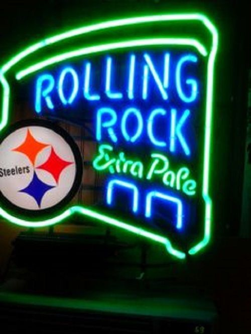 """New Rolling Rock Extra Pale Pittsburgh Steelers NFL Neon Sign 24""""x20"""""""