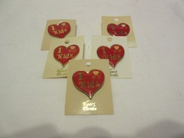 5 Vintage I ❤ Kids Love Heart Pins Buttons Enamel Teachers Babysitters D... - $19.99