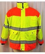 NEW Mens Reflective Jacket Orange Green Fleece Lining Road Worker Safety... - $39.99