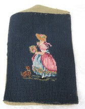"""Vintage Petite Point Girl w Posy Flowers and Little Puppy Dog 7"""" x 5"""" T76 - $28.22"""