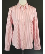 CHAPS Size L 12 14 Pink White Striped Cotton Shirt Blouse MINT! - $16.99