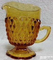 Indiana Glass Amber Diamond Point Pedestal Creamer Pitcher Mint Free Ship - $14.99
