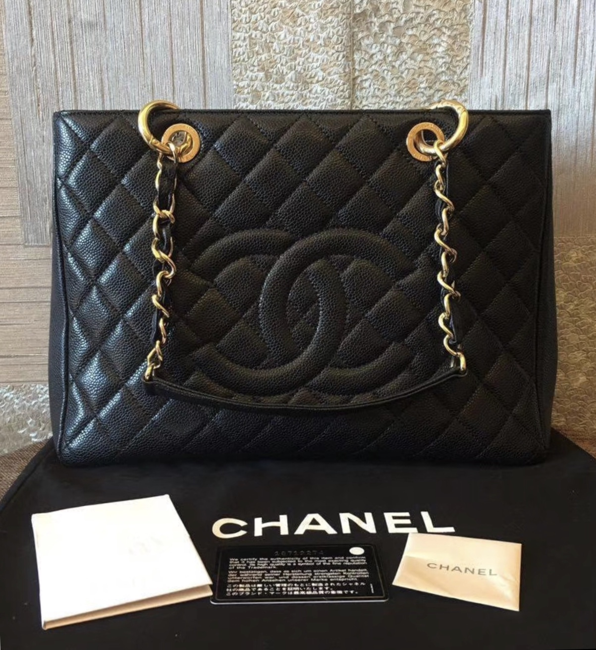 AUTHENTIC CHANEL QUILTED CAVIAR GST GRAND SHOPPING TOTE BAG BLACK GHW