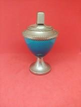 Vintage Corinthian Zippo Table Lighter - Blue Glass Enamel - $123.74