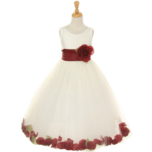 Ivory Satin Bodice Layers Tulle Skirt Burgundy Flower Brooch & Petals Girl Dress - $50.99+