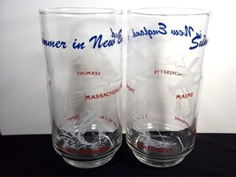 Summer in New England glass tumbler x 2 white blue & red on clear 14 oz - $11.98