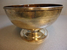 "Silver on Copper Fruit Bowl with Engraving 10 1/4"" Wide - $148.75"