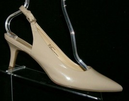 Liz Claiborne Belle nude tan man made pointed toe buckle slingback heels 10M - $28.63
