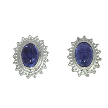 7X5 MM Oval Cut Tanzanite Sterling Silver 925 Handmade Tiny Stud Earring - $12.16