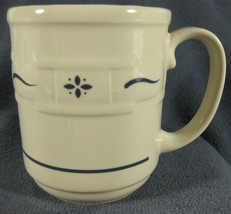 Longaberger Pottery Woven Traditions Classic Blue Round Coffee Cup Mug 12oz - $29.95