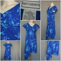 Karin Stevens Woman's Dress blue Floral Midi SZ 12 desk to dinner - $6.84