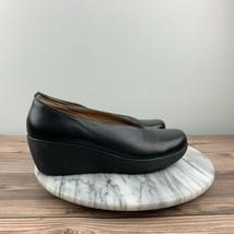 Clarks Artisan Claribel Womens Size 8 Black Leather Flare Platform Wedge Shoes - $49.95