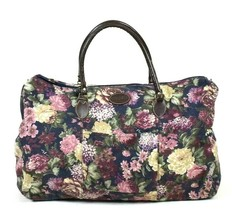 Vtg 90s Floral Canvas Duffle Shoulder Bag Travel Satchel Luggage Carryon... - $24.74