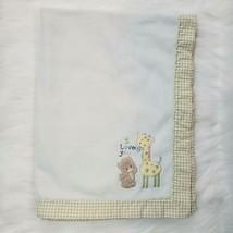 Just Born White Baby Blanket  I Love You Giraffe Bear Gingham Satin Flee... - $24.99