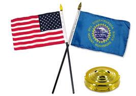 "South Dakota State w/ USA America American Flag 4""x6"" Desk Set Gold Base - $20.00"
