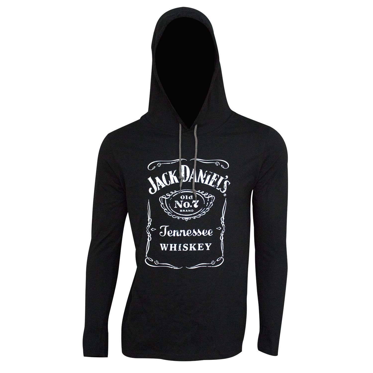 Primary image for Jack Daniel's Classic Logo Long Sleeve Men's Hooded TShirt Black