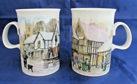 Dunoon Scotland Coffee Cup Mug George Inn or Winter Village Scene Cathedral - $18.35