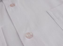 Men's Fashion Fit Long Sleeve Button Down Pocket Pattern White Dress Shirt - L image 2