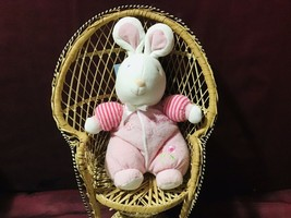 Vintage Carters Starters Baby My Best Friend Pink White Bunny Rattle Toy - $49.50