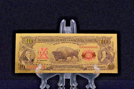 PRECISE DETAIL~GOLD~1901 UNC. $10 DOLLAR BISON Rep*Banknote - $12.34