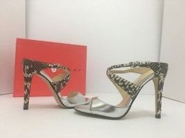 Ivanka Trump Davlyns Women's High Heels Sandals Black Snake Silver Metallic US 5 - $39.60